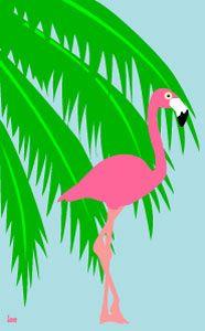 Free Flamingo Clip Art | HOME  CLIP ART  Themes  Tropical Clip Art  Palm Tree and Flamingo ...