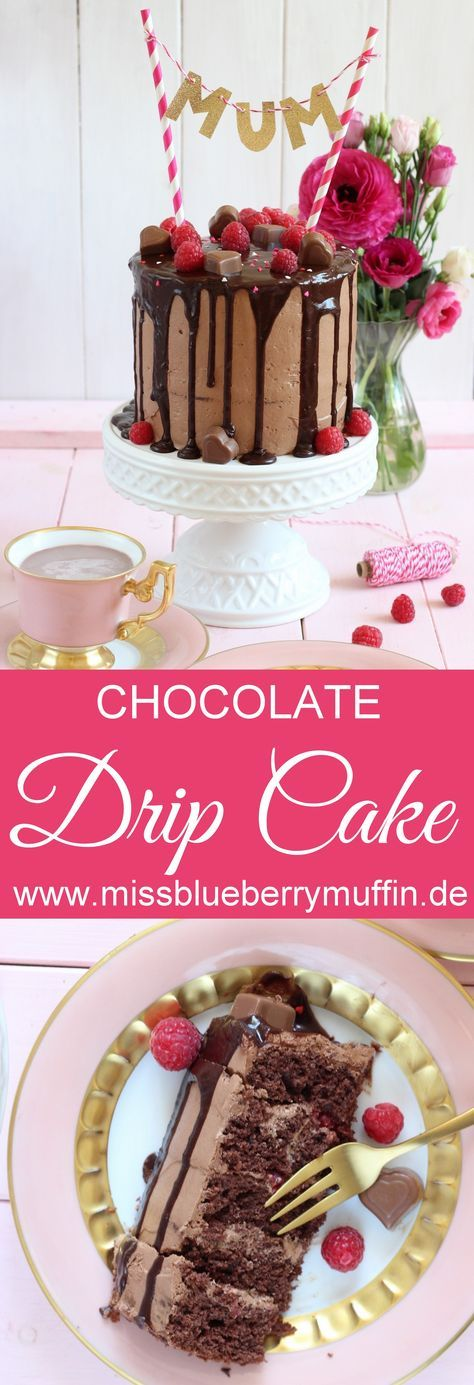 Muttertag Kuchen / / Rezept / / Schokoladenkuchen mit Himbeeren / / Tropf Kuchen / / mit …   – Essen