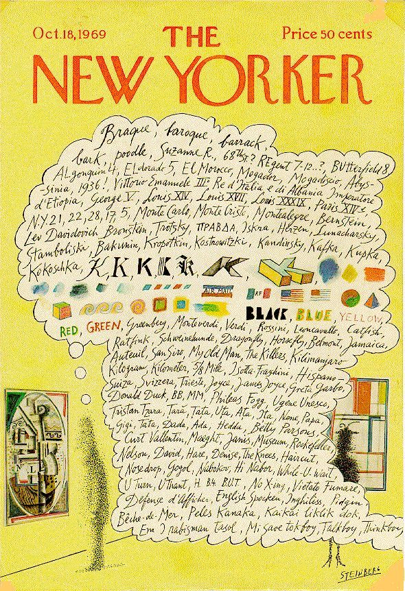 Looking at a Georges Braque painting. Saul Steinberg for The New Yorker.