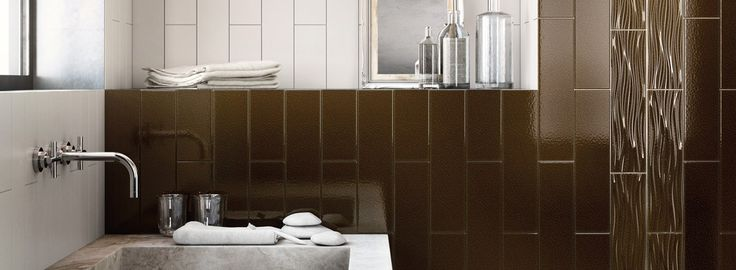 Metallic Gold and Silver 4x16 wall tiles #keraben