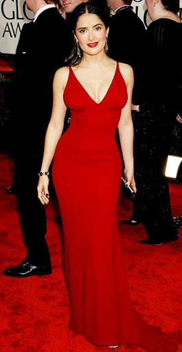 Curve-hugging red look-at-me dress! Selma Hayek