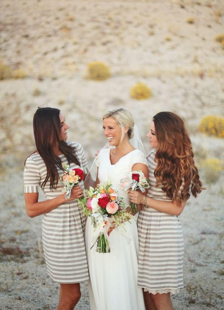 love love love striped bridesmaid dresses