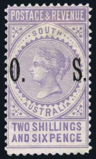 Australia; South Australia, Official, 1891 2/6 Violet,