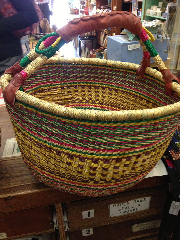 A fantastic design for shopping or picnics.  You can fit so much into these gorgeous, handmade elephant grass baskets.