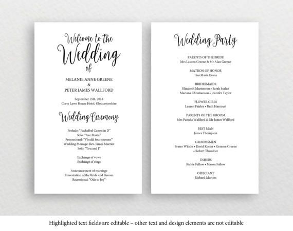 Printable Wedding Program Rustic Wedding Program Editable