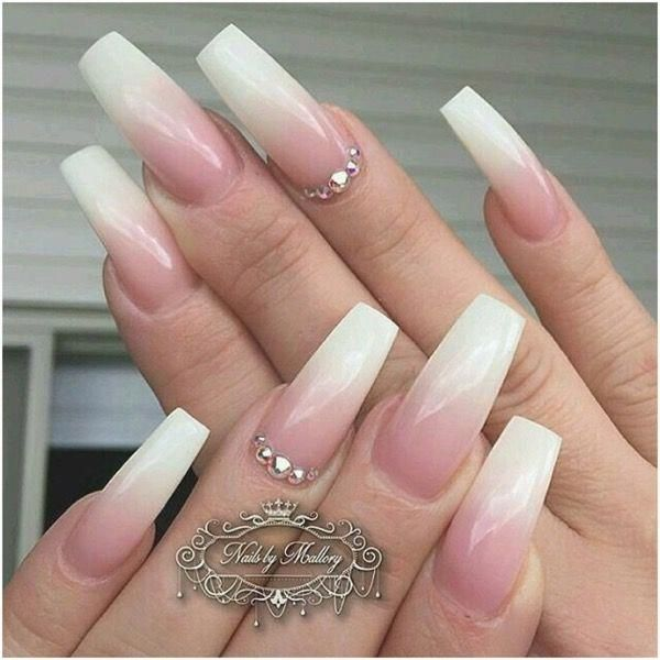 The Colorful Faded French Ombre Bling Coffin Nails Page 6 Beautycuco Blog Ombrenails French Fade Nails French Nails Ombre French Nails