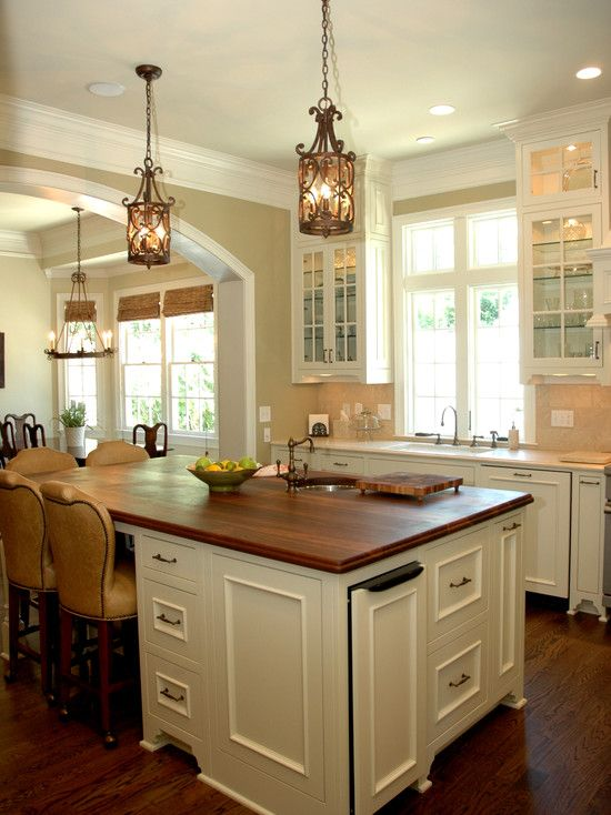Island With Seating On Two Sides Small Sink Storage Wood Top For The Home Pinterest