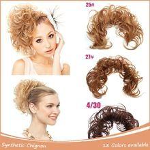Synthetic Hair Bun 1PC Elastic Scrunchy Bun Hair Piece Updo Bride Bun Natural Hairpiece 40cm 30g Clip In Hair Bun Extension(China (Mainland))