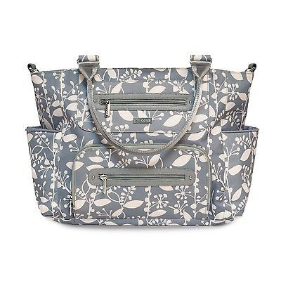 JJ Cole Caprice Diaper Bag, Ash Woodland, Gray with Cream Pattern
