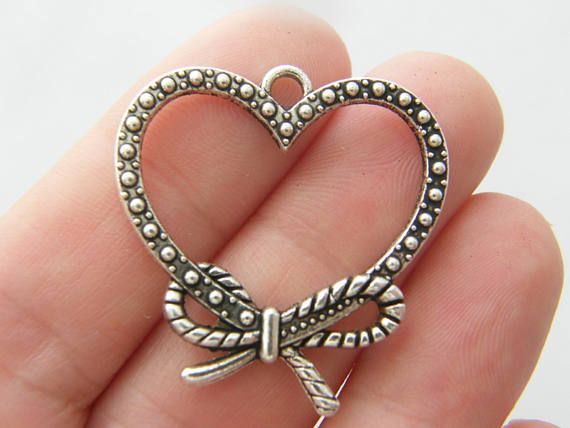 2 Heart charms antique silver tone H176