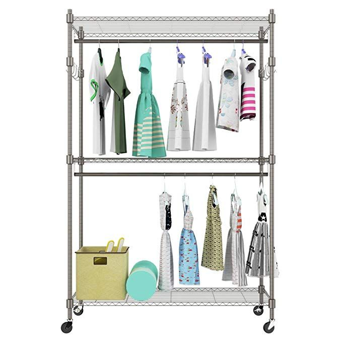 Keland Us Stock Free Standing 3 Tier Portable Rolling Clothes Wardrobe Garment Rack With Double Rod Heavy Du Clothes Rack Closet Clothing Rack Hanger Storage
