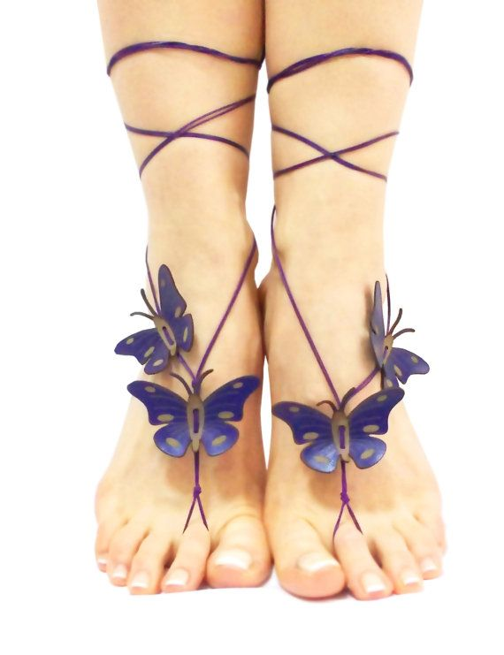 Deep Purple Butterfly Barefoot Sandal Beach Wedding 12
