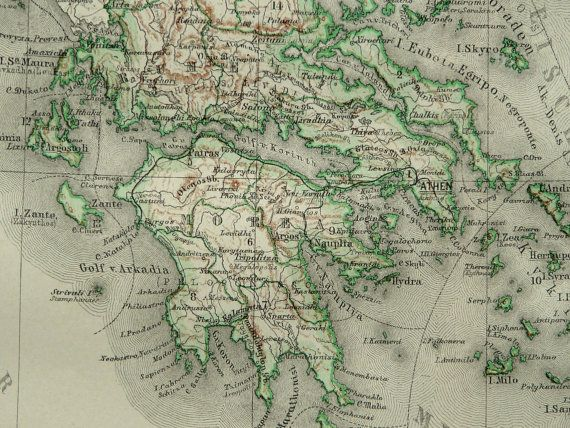 8 best vintage maps greece images on pinterest vintage cards 1890 antique map of greece 124 years old by antiqueprintsonly 1595 gumiabroncs Gallery