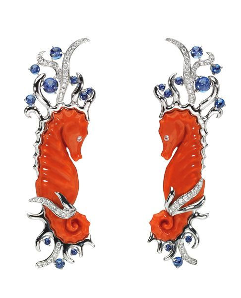 Precious !    Dior Fine Jewelry Coral Sea Horses, Blue and White Diamonds set in White Gold, earrings.