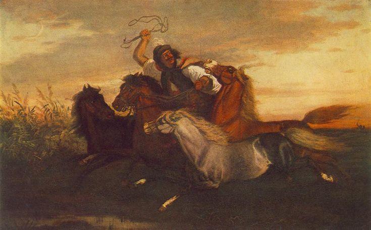 Károly Lotz (1833-1904) painter Galloping Outlaw - Lotz Károly (festő) – Wikipédia   (Vágtató betyár)