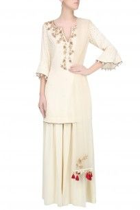 Ivory And Gold Embroidered Motifs Short Kurta And Pants Set #gold #beige #kurti #weddingseason #celebration #ethnic #traditional #MonikanNidhi #perniaspopupshop #shopnow #happyshopping