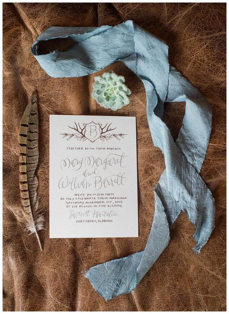 deer hunter wedding invitations%0A Rustic wedding invitation with initial monogram with antler detail by  Marked  image by Heather Durham
