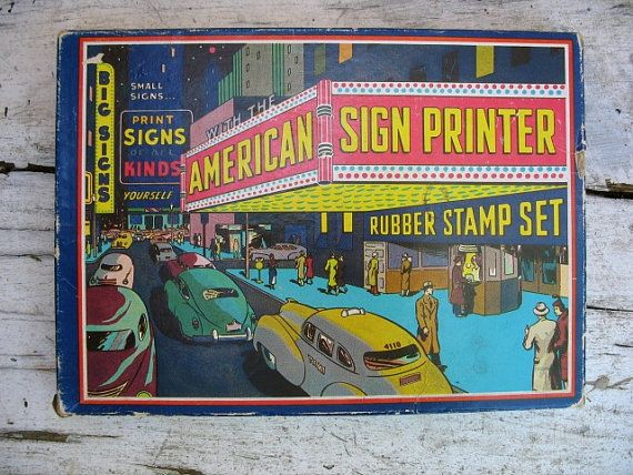 Vintage American Sign Printer Rubber Stamp set by luckduck on Etsy