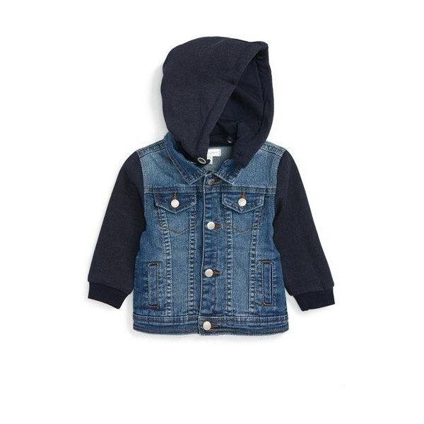 PUMPKIN PATCH Hooded Denim Jacket ❤ liked on Polyvore featuring outerwear, jackets, blue jackets, denim jacket, jean jacket, blue denim jacket and blue jean jacket