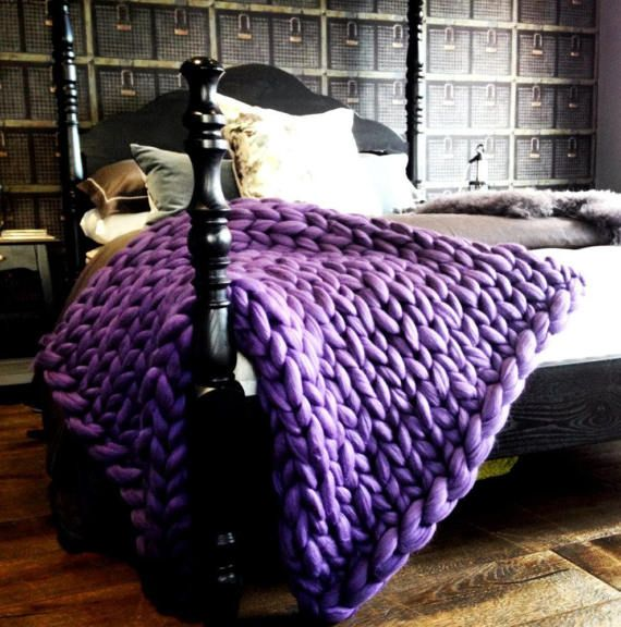 Chunky Knit Blanket Purple Blanket Super Chunky Blanket