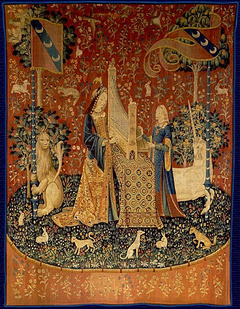 Sound -- from the Lady and the Unicorn tapestries. Flanders/Paris, late 15c. Museé du Moyen-Age (Musée de Cluny, Paris).