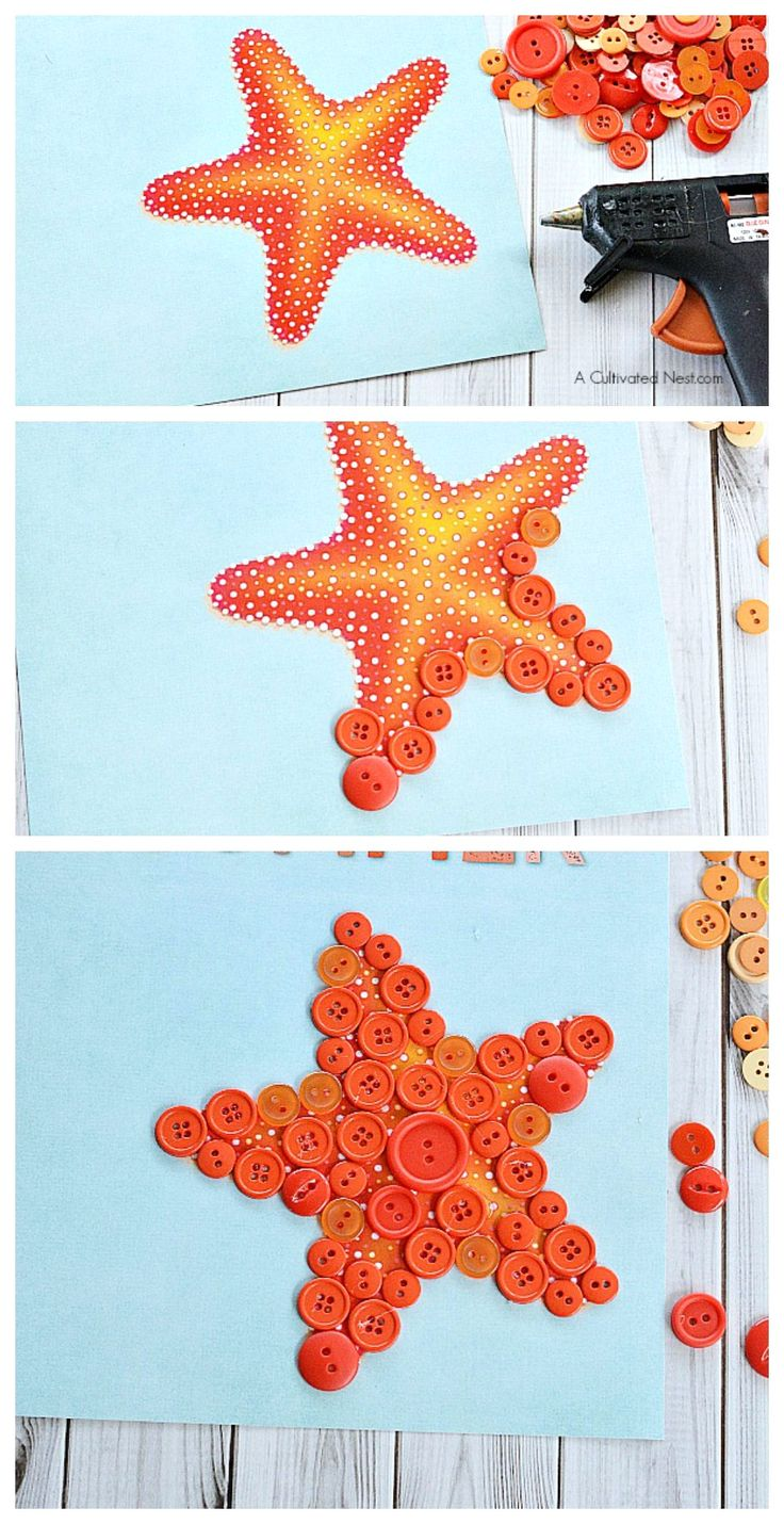 Starfish button kids craft