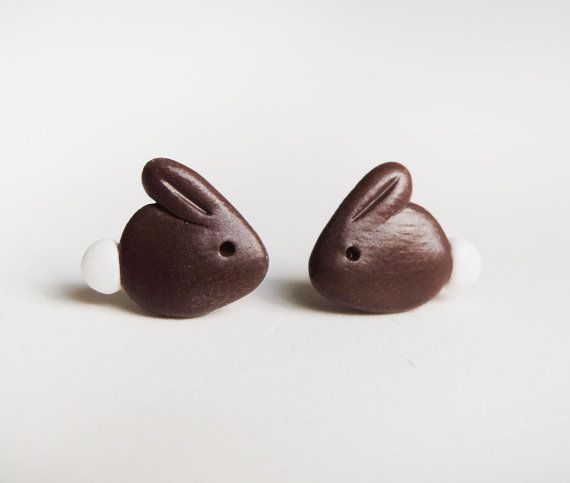Polymer Clay Chocolate Bunny Rabbit Earrings by cbexpress on Etsy, $10.00