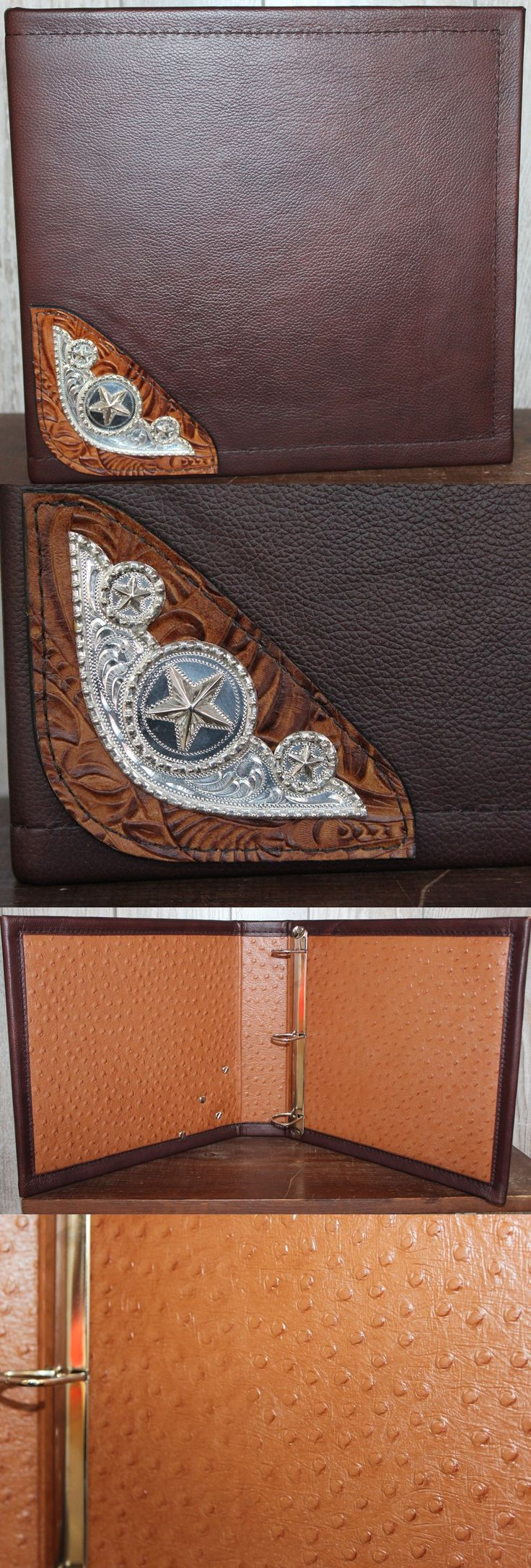 Conchos 159019: Berries And Stars Silver Saddle Corner Concho Chocolate Leather 3 Ring Binder -> BUY IT NOW ONLY: $71.95 on eBay!