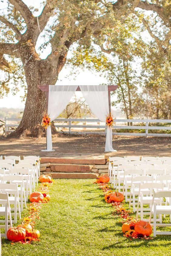 fall pumpkin wedding arch / http://www.himisspuff.com/fall-wedding-arch-and-altar-ideas/3/