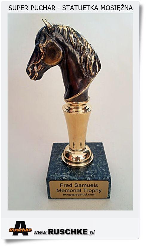 Puchar statuetka KONIA rękodzieło Hand made Mosiądz połączony z marmurem