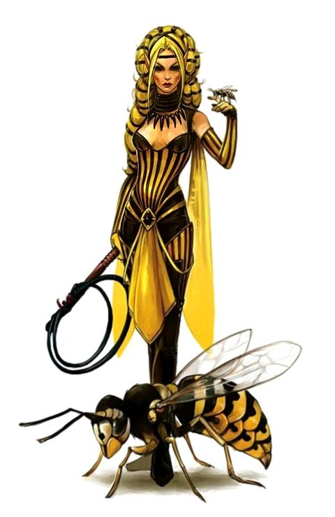 Female Elf Cleric of Calistria with Giant Wasp Familiar - Pathfinder PFRPG DND D&D 3.5 5th ed d20 fantasy