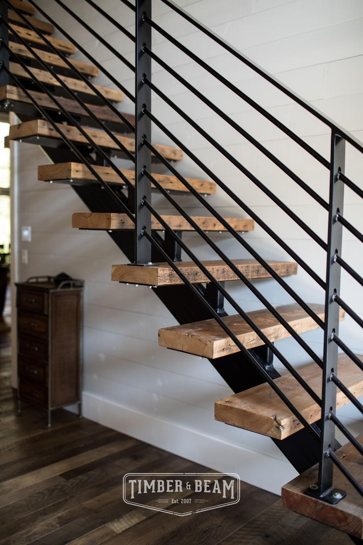 Reclaimed Pine Stair Treads In A Modern Industrial Meets