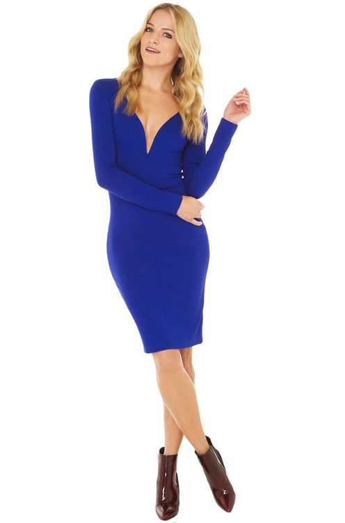 We're jamming out with our new collection of mind-blowing midi skirts, and you're invited. AKIRA's Come On Over Midi Dress in Blue features a plunging neckline with boning for structure, princess seams, long sleeves, and an invisible back zipper closure. Unlined. Pair with pumps & a slim clutch.