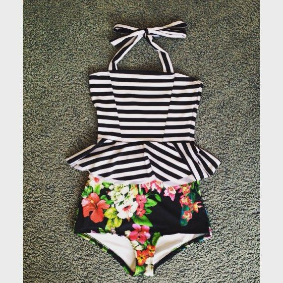 Great new custom combo of the Poppy Peplum! Modest Swimsuit two piece swimwear with full coverage. High Waisted Bottoms :)