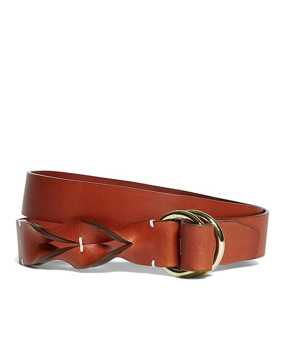 Leather Twisted Belt Cognac