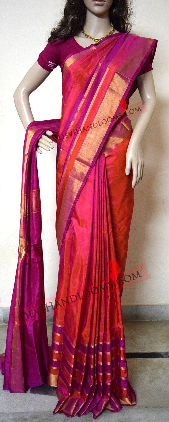 Uppada Orange with pink Color Silk Saree with Gold by UppadaPattu