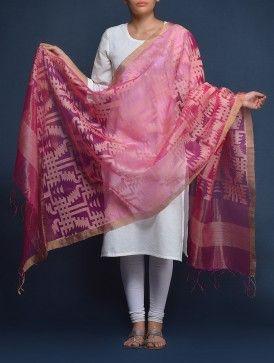 Pink Jamdani Silk Dupatta with a plain white churidar punjabi suit