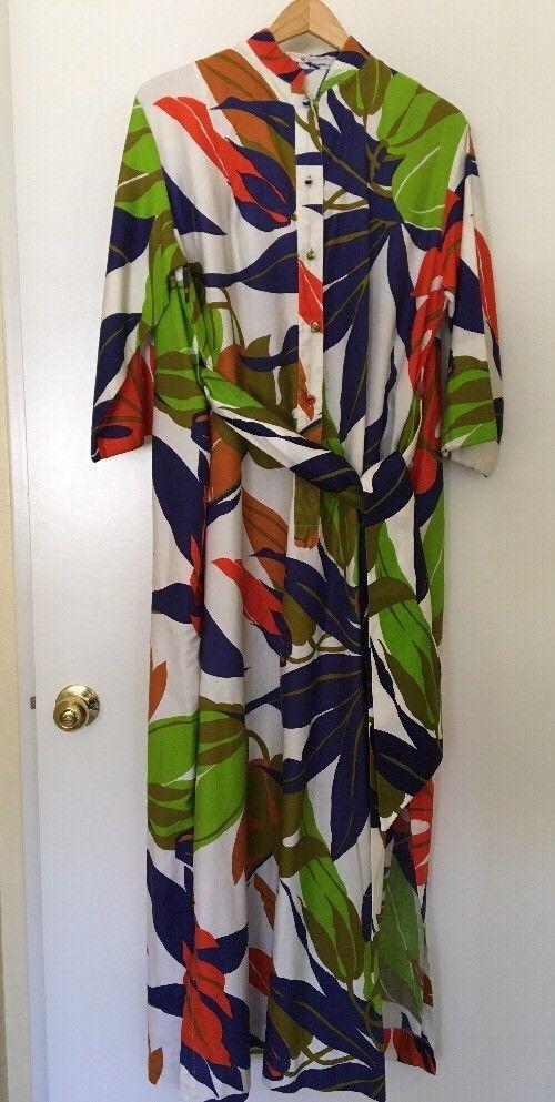 Katherine Oguest For Penthouse Gallery Tropical Monstera Leaf Print Caftan Dress #Caftan