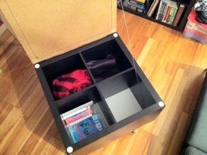 Ikea hackers expedit lack rolling storage coffee table diy creative solutions pinterest - Ikea hack storage ottoman ...