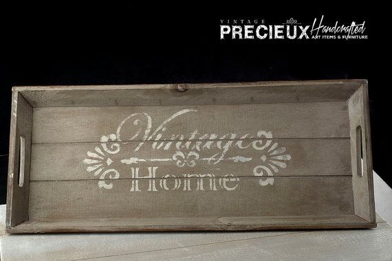 Wooden Tray Distressed Vintage Cottage chic  by vintagePRECIEUX