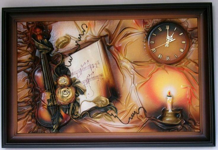 Obraz   zegar scienny ze sk�ry, 90x60, na prezent