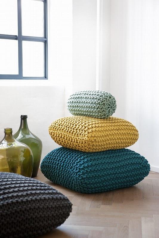 Big, Knitted, Garter Stitch Pillows