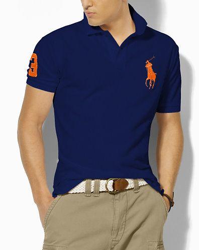 8270a8f1e0972 Ralph Lauren Homme Classic-Fit Big Pony Court Manches Polo Profond Bleu  Orange