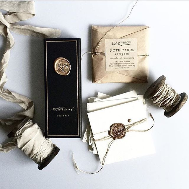 calligraphy wax seals, handmade paper, rustic twine, hand-dyed silk ribbon