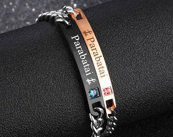 Parabatai Friendship Bracelet Set Stainless Steel, Couples Bracelet, Parabatai Rune, Runes, Gift for her, Malec, Jace Alec Parabatai