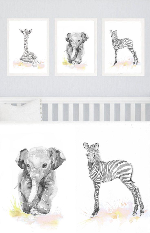 Neutral Nursery Decor Set of 3 prints Baby Animals by ValrArt