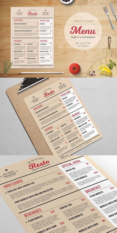 family resto menu template food menus print templates food
