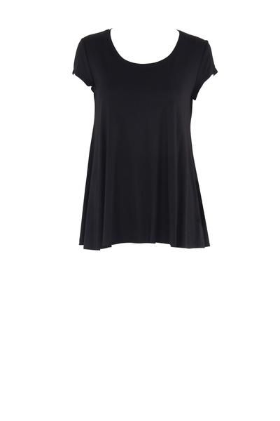 EcoDiva's relaxed cap sleeve tee has a fitted bodice and a full baby doll skirt. The tee's high back, scoop neck and cap sleeves makes it a design you can wear