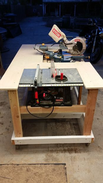 Mobile Workbench With Built In Table Amp Miter Saws