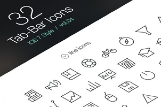 Volume 4 of our iOS7 tab bar icons with a new set of 32 icons designed to complement your next web...